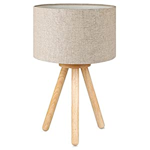 Tomons Lampe de Chevet en Bois à Trépied, Abat-jour Classique en tissu, Parfait pour Chambre, Salon, Salle d'étude, et…