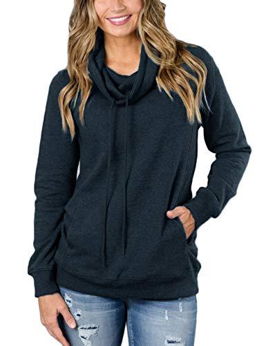 KUREAS Women's Cowl Neck Sweatshirt Casual Long Sleeve Drawstring Pullover Tops