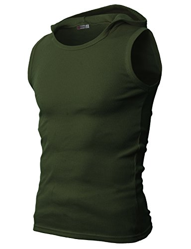 H2H Mens Active Comfortable Slim Fit Hoodie Tank Top For Work Out
