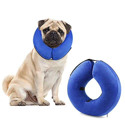 Protective Inflatable Cone Collar for Dogs and Cats, Soft Pet Recovery E-Collar Cone Small Medium Large Dogs, Designed to Prevent Pets from Touching Stitches (Blue-M)