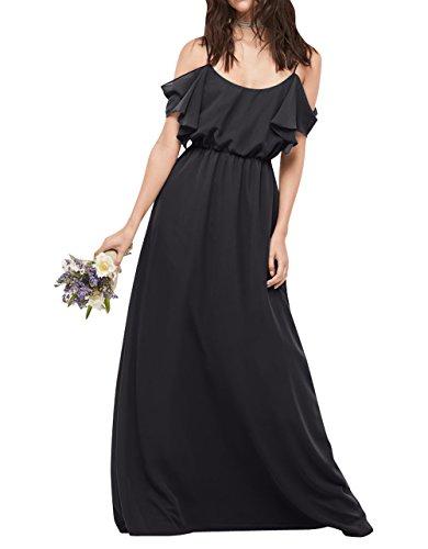 La Brau mia Festlichkleider Kleider Elegant Schwarz Abendkleider Langes Partykleider Sommer Brautjungfernkleider Chiffon TfFqr7F
