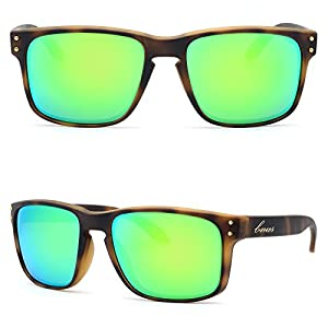 BNUS Italy made Classic Sunglasses Corning Real Glass Lens w. Polarized Option (Frame: Matte Tortoise / Lens: Green Flash, Polarized)