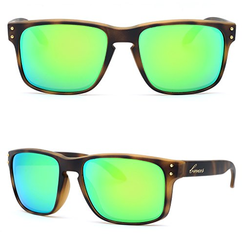 BNUS Italy made Classic Sunglasses Corning Real Glass Lens w. Polarized Option (Frame: Matte Tortoise / Lens: Green Flash, - Tortoise Sunglasses Matte