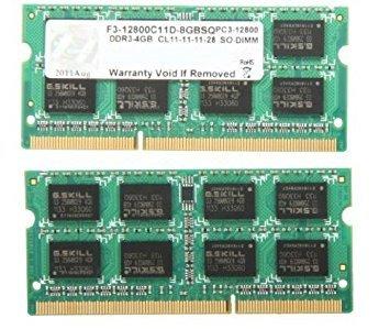 G.SKILL 8GB (2 x 4GB) 204-Pin DDR3 SO-DIMM DDR3 1600 (PC3 12800) Laptop Memory Model F3-12800CL11D-8GBSQ retail