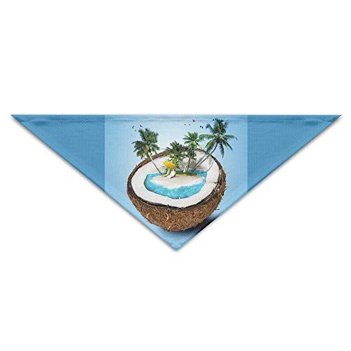 (ALLMYHOMEDECOR Dog Bandanas Scarfs Coconut Tree Island Beach Palms Triangle Bibs Scarves Novelty Basic Dogs Kerchief Costume Accessory Pet Neckerchief Cat Collars Holiday Birthday)