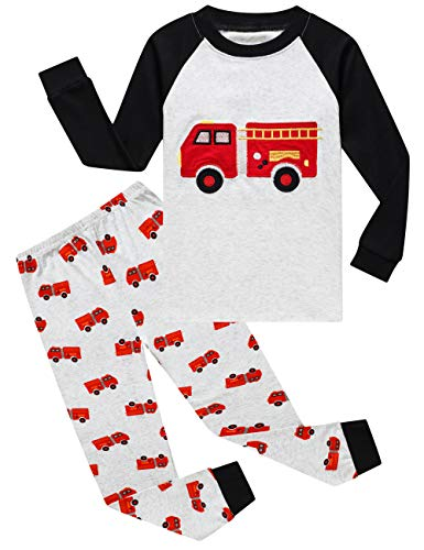Family Feeling Little Boys Fire Truck Pajamas Sets 100% Cotton Toddler Kid 2T