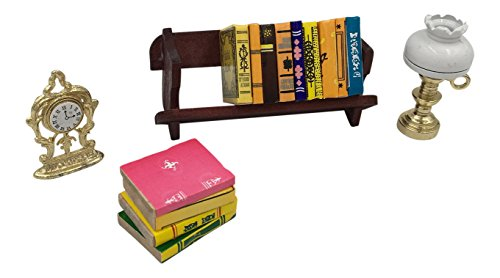 Make your Dollhouse Come to Life-Dollhouse Accessories Set 1:12- Mini-Books Dollhouse Accessories Set- Mini-Book Rack, Miniature Lamp & Mantel Clock-Mini Books for Dolls- Mini-Books Bundle - Dollhouse Miniatures Library