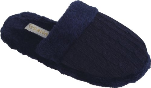 New Womens Close-Toe Indoor Fall/Winter Slippers With Knitted Look Size Mediums Navy qHPCYlc2