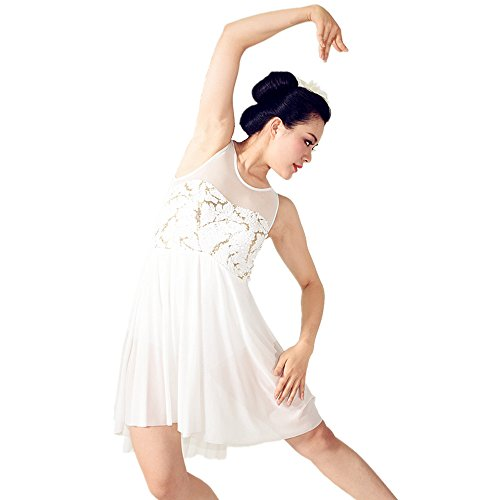 MiDee Sweetheart Sequined Illusion Tank Top High-low Lyrical Dress Dance Costume (LC, Ivory) (Cheap Dance Costumes)
