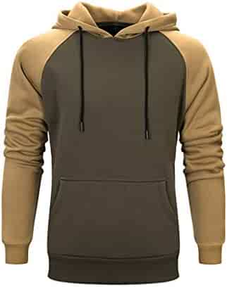 Sweatshirts for Men Hoodies Autumn Winter Patchwork Long Sleeve Pullover Tops Casual Athletic Hooded Outwear