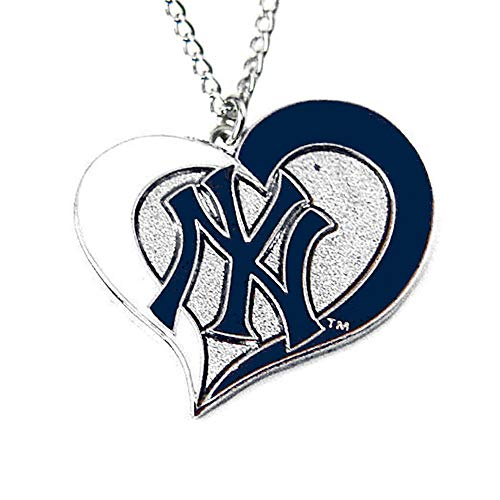 aminco MLB New York Yankees Swirl Heart Necklace ()