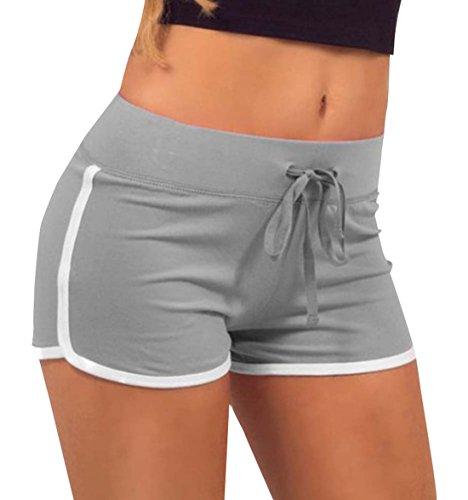 Freestyle Estivo Pantaloni Donna Moda Sottile Patchwork Shorts con Coulisse Casual Traspirante Assorbimento del Sudore Corto Pantaloncini Hot Pants da Yoga Fitness Jogging Grigio