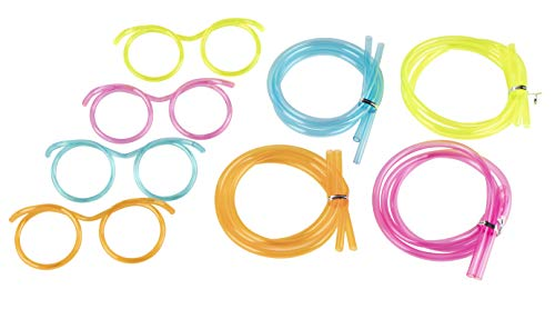 Silly Straw Glasses - 12-Pack Flexible Drinking Straw Novelty Eyeglass Frame, Bar Accessories, for Birthdays, Bridal Showers, Party Supplies, Favors, Game Ideas, 4 Assorted Colors ()