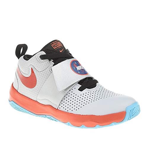 Nike Kids Team Hustle D 8 Basketball Sneaker (GS) (Pure Platinum/Team Orange, 5.5 Big Kid) (For Durant Sneakers Girls Kevin)