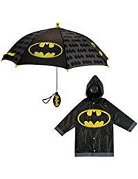 Little Kids umbrella and Lightweight Rain Slicker Set for Boys Ages 4-7, Gray Batman