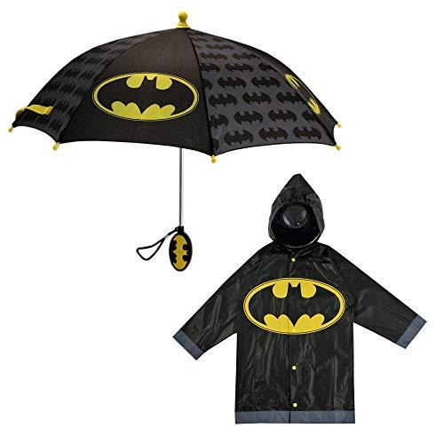 DC Comics Boys' Little Batman Character Slicker and Umbrella Rainwear Set, Black, Age ()