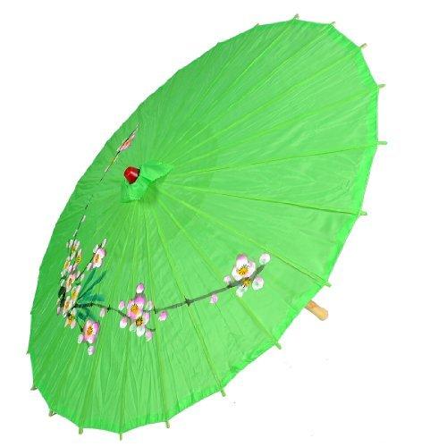 eDealMax Bambou Rib Polyester Danse Parapluie Parasol Fête du Printemps vert