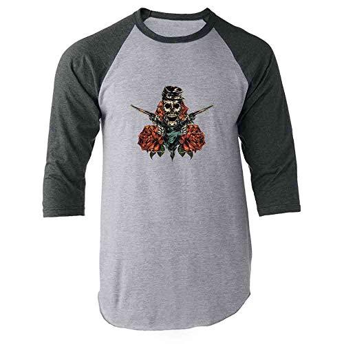 (Pop Threads Civil War Skeleton with Revolvers and Roses Skull Gray L Raglan Baseball Tee Shirt)