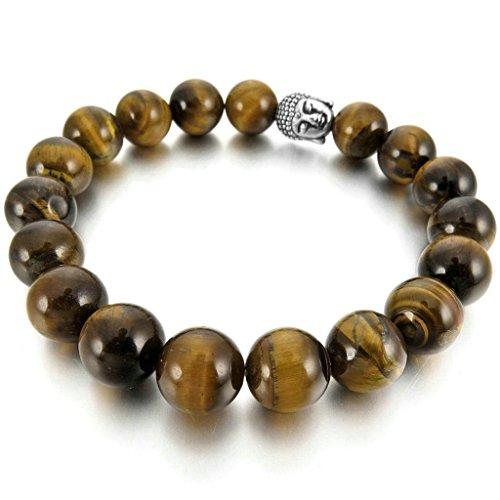 Men Women's 10mm 12mm Alloy Bracelet Link Wrist Agate Buddha Mala Beads, Brown Silver