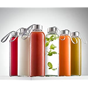 HomEquip 6 Pk, 16 oz Glass Water Bottles with Stainless Steel Caps & Loop- BPA Free, Airtight & Leak Resistant: Best Reusable Sports Drinking Bottles for Fresh Juices, Juicing, Tea & Bulk Beverages