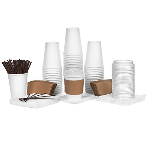Scroll Coffee (Disposable Coffee Cups with Lids and Sleeves - 12oz Coffee Cups - 60 pack - Coffee Cup Set includes Cups, Lids, Sleeves, Stir Sticks, and Napkins - 60 of Each Item Included in this Disposable Cups Set)