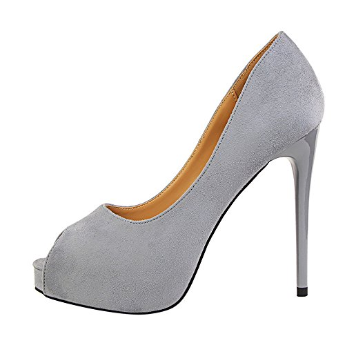 Party Platform Heels Grey High Peep Dress MAKEGSI Toe Women Sandals Pumps Shoes wq8Tqx6S