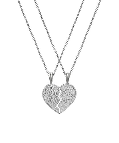 Sterling Silver BFF Best Friends Pendant Necklace, 18