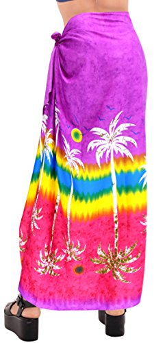 falda del traje de baño traje de baño de damas abrigo ropa de playa pareo pareo cubierta hawaiano hasta bañador de las mujeres Violeta