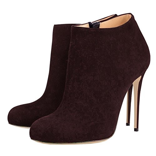 VOCOSI Suede Faux Brown Women's High Dress Boots Booties Heels Classic Round Dark Toe Ankle qfrwHqp