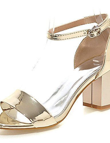 Dress Toe Women's ShangYi Silver Leather Chunky Shoes Patent Heel Red Sandals Gold Open Pink Red zHqqx0d