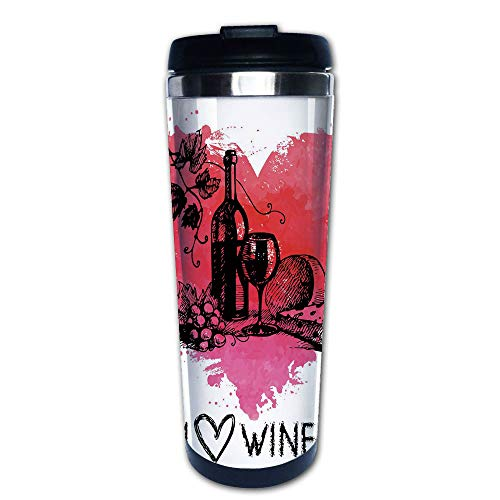 (Stainless Steel Insulated Coffee Travel Mug,with Splash Watercolor Heart I Love Wine,Spill Proof Flip Lid Insulated Coffee cup Keeps Hot or Cold 13.6oz(400 ml) Customizable printing)