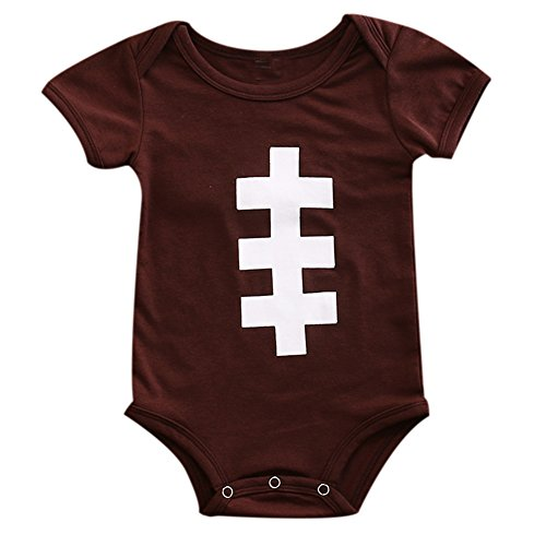Baby Boy Football Costume (ONE'S Newborn Infant Baby Boys Girls Rugby Sports Bodysuit Romper Outfits (6-12 Months, Brown))