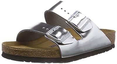 Birkenstock Arizona Soft Footbed Metallic Silver Leather Unisex Sandals 42 (US Women's 11-11.5)