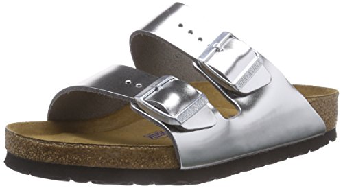 Birkenstock Arizona - Pantuflas de cuero mujer Plata - Silber (Metallic Silver)