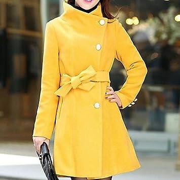 PU & PU dousiy Mujeres normal barniz altas Cuello Cinturón Tweed abrigo, YELLOW-XXL