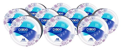 Dixie Everyday Paper Plates, 8 1/2 Inch Plates, 480 Count (10 Packs of 48 Plates); Designs May Vary