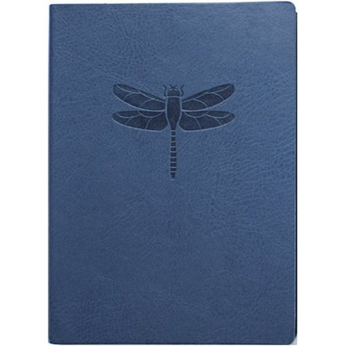 (Embossed Dragonfly Leather Blank Journal Diary - Ruled)