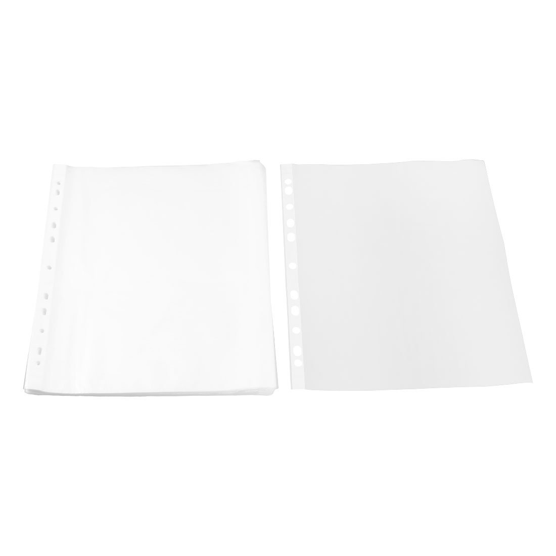 uxcell Plastic School Square Shaped File A4 Paper Storage Sheet Protector 0.02cm Thickness 100pcs Clear