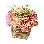 Silk Flower Arrangements Sweet Home Deco 8'' Silk Rose Peony Hydrangea Mixed Flower Arrangement w/Wood Vase Wedding Home Decorations (Pink)
