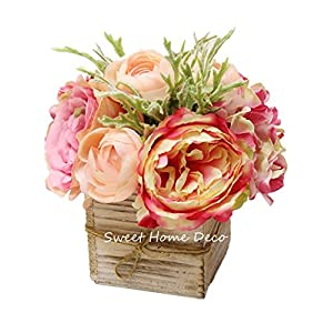 "Sweet Home Deco 8"" Silk Rose Peony Hydrangea Mixed Flower Arrangement w/Wood Vase Wedding Home Decorations (Pink)"