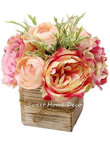 Sweet Home Deco 8'' Silk Rose Peony Hydrangea Mixed Flower Arrangement w/ Wood Vase Wedding Home Decorations (Pink)
