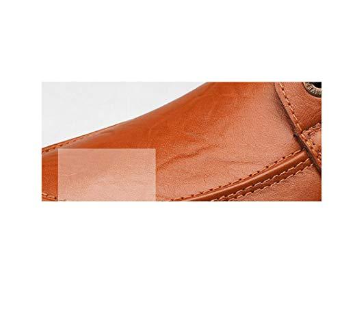 Large Mano Scarpe Cuoio Taglia Casual Scarpe zmlsc di Scarpe Uomo da da Lavoro Scarpe Inglesi Khaki A Basse Scarpe Xwwq08T