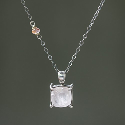Square faceted Rose quartz gemstone pendant necklace in silver bezel and prongs setting and multi-pink sapphire on the side on silver chain