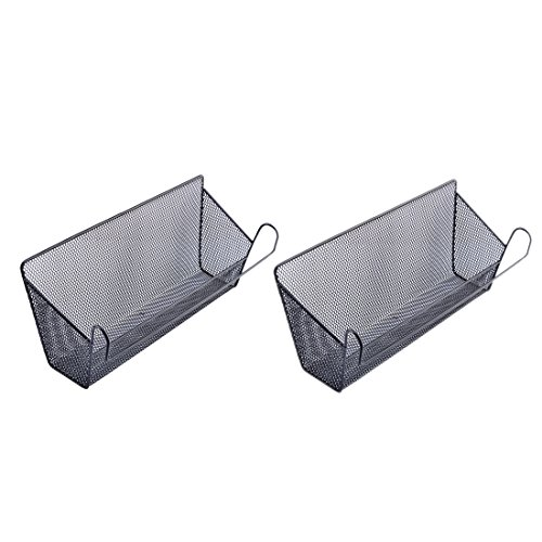2Pack Dormitory Bedside Storage Baskets, YIFAN Mesh Origanizer Caddy for Books Phones Drinks Office Home Table Hanging Organizer Desktop Corner Shelves - (Bunk Bed Accessories)