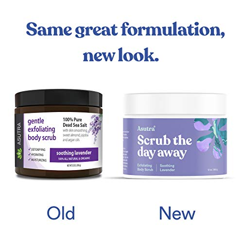 ASUTRA Dead Sea Salt Body Scrub Exfoliator (Soothing Lavender), NEW BIGGER 16 oz Size | Ultra Hydrating, Gentle…