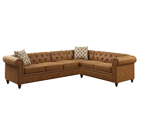 Benzara BM168690 Sectional Sofa, Brown (Sofa Designer Furniture)