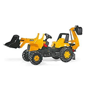 Image of Baby rolly toys JCB Construction Pedal Tractor: Backhoe Loader (Front Loader and Excavator/Digger), Youth Ages 3+