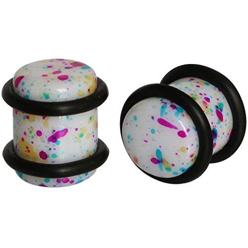 0g 8mm Colorful Rainbow Splatter UV Acrylic Ear Tunnel Plug Gauge Earlobe Stretcher with Black O ()