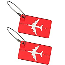 TopTie Metal Luggage Tag Set of 2 ID Name Card Travel Bag Tag Travel Accessories - Red