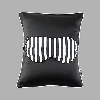 a16e9fb39 LilySilk Silk Stripped Travel Set 1x Pillow 1x Silk Pillowcase and 1x Silk Eye  Mask Classic Mix Sleeping Stylish Trim Soft Black 11.8x13.8(30x35cm)